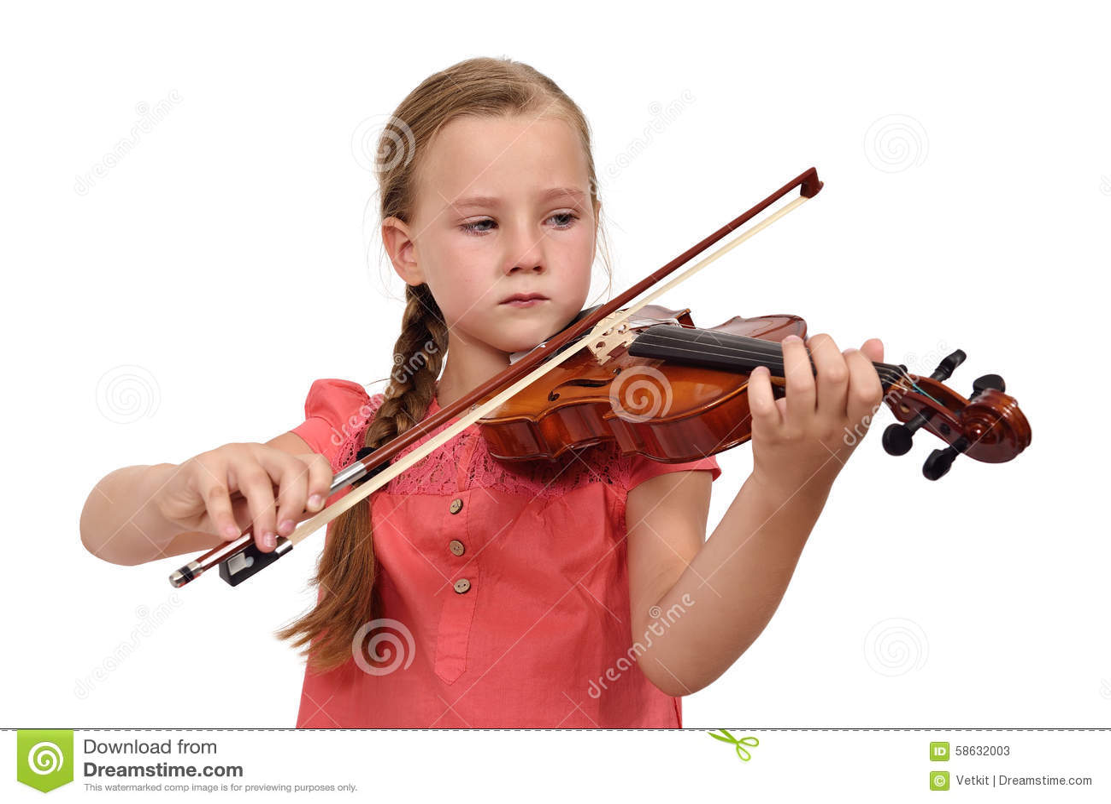 Sad Girl With A Violin Stock Photo - Image: 58632003