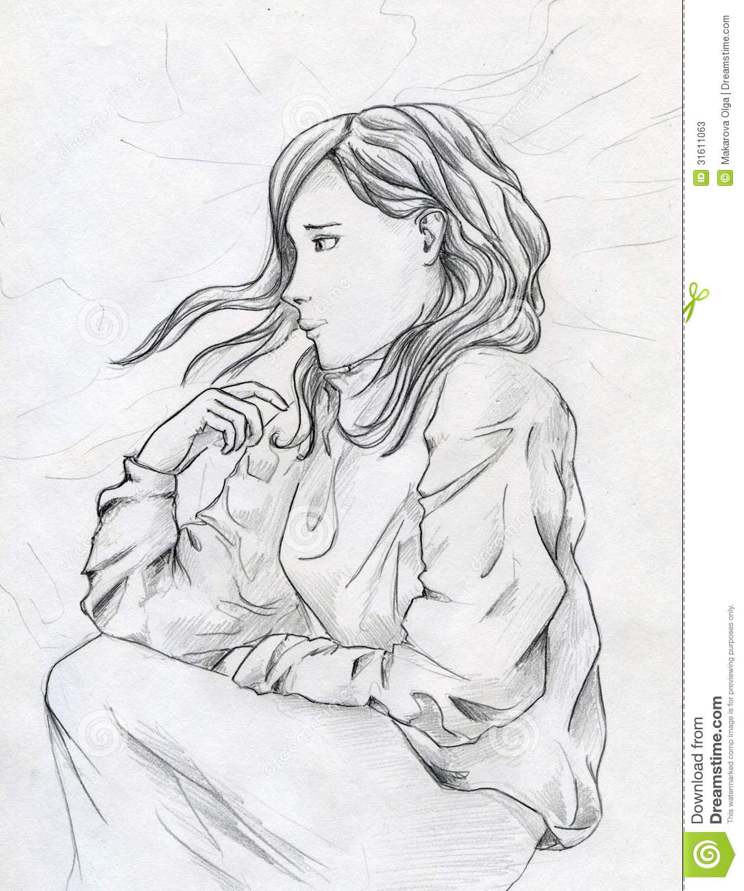 Young girl thinking of something sad while laying in the bed hand drawn pencil sketch
