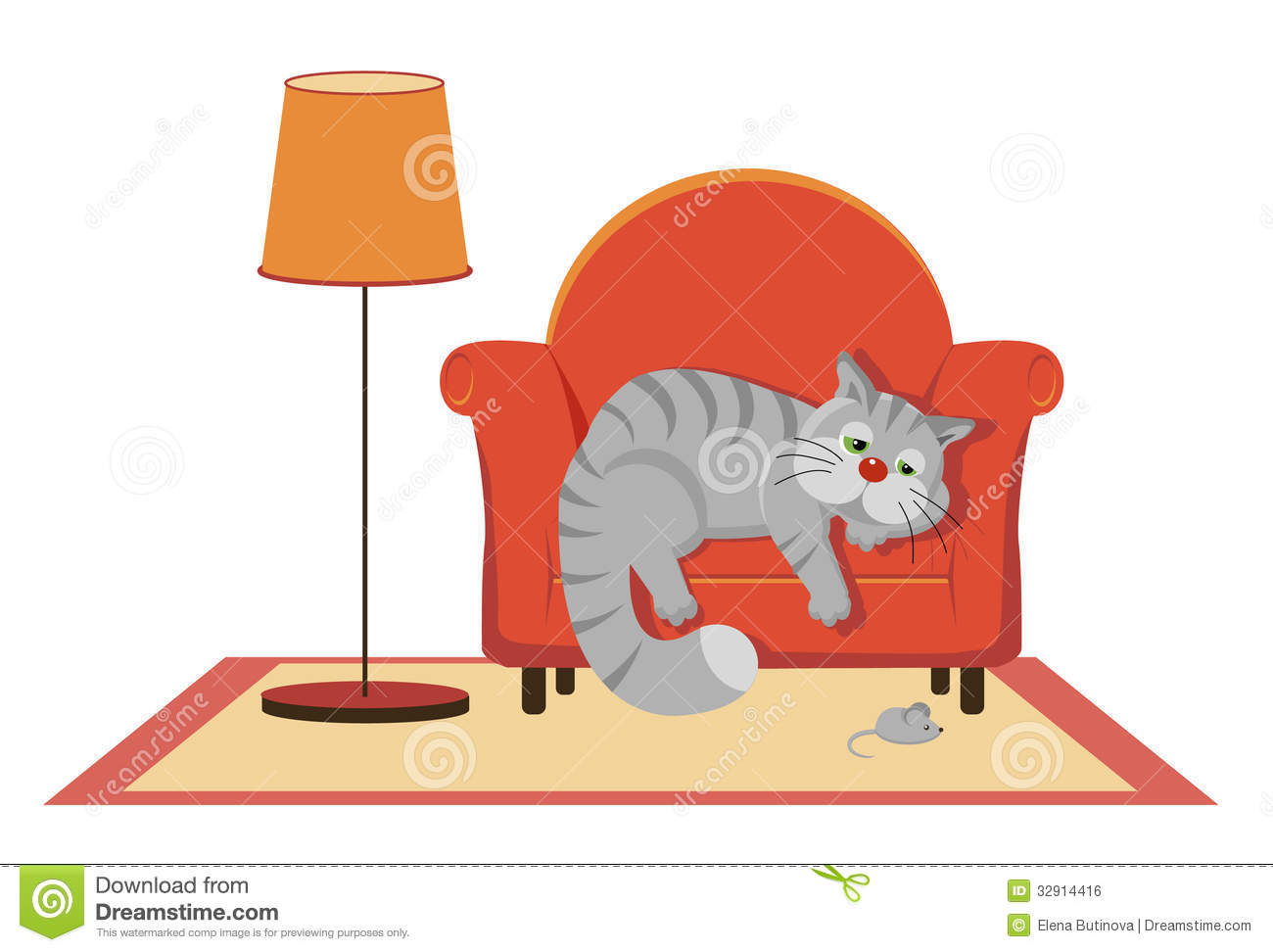 Sad Gray Cat Lying On The Couch Stock Vector - Image: 32914416 Tabby Cat Sitting Up