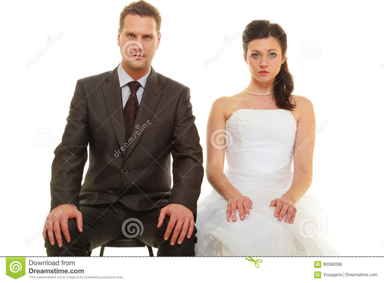 Bad Wedding Photos.Sad Groom And Bride Couple Waiting For Wedding Stock Photo Image