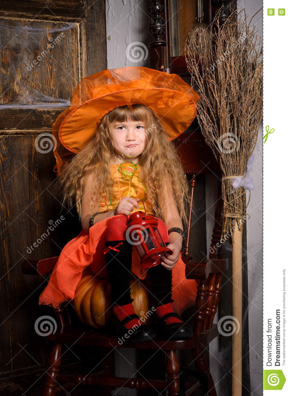 Sad Halloween Witch Girl In Costume With Broom Stock Photo - Image ...