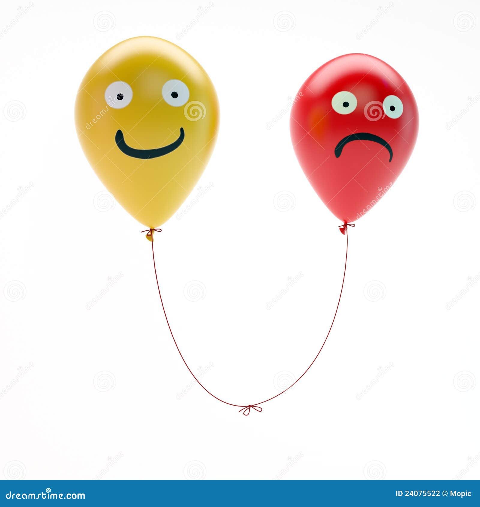 Sad Happy Balloons on Unhappy Man Cartoon