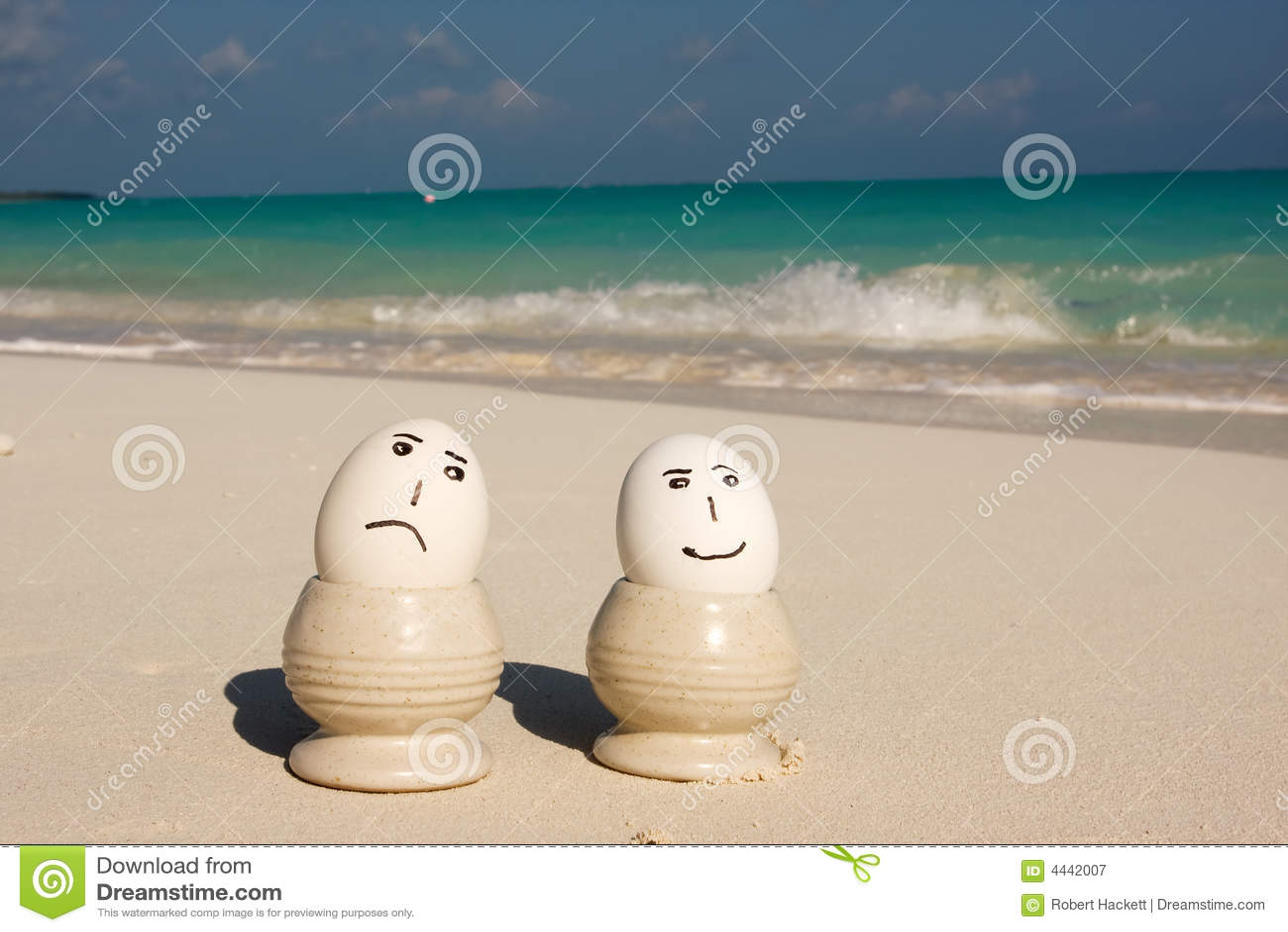 Sad and happy beach eggs