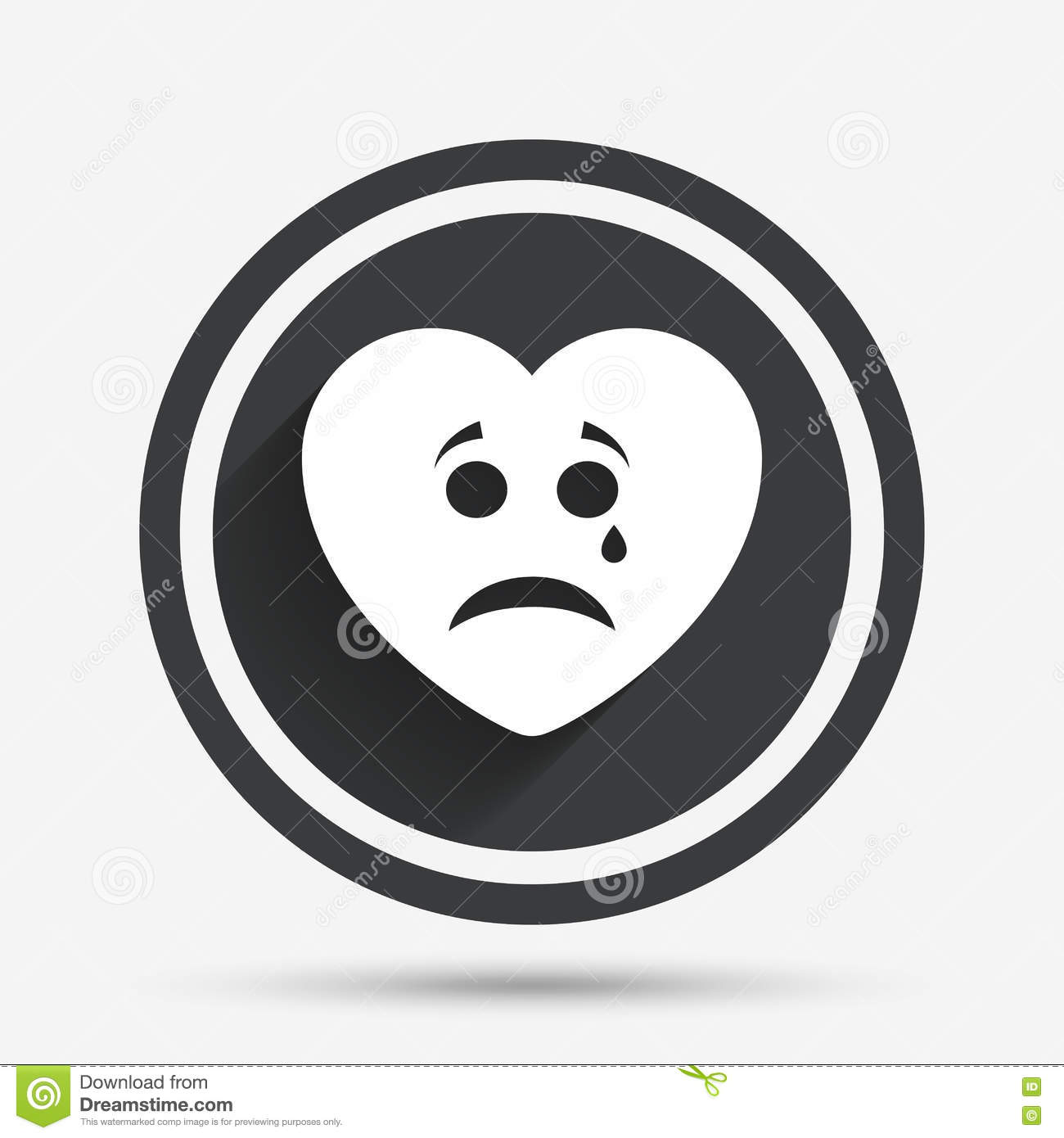 Sad Heart Face With Tear Icon Crying Symbol Stock Vector