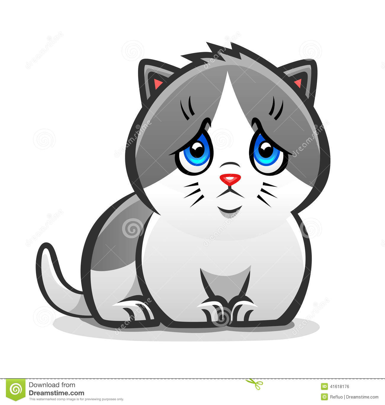 Sad Kitten Stock Vector - Image: 41618176