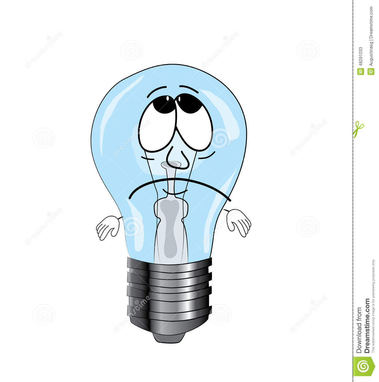 sad light bulb cartoon stock illustration image 48291033. Black Bedroom Furniture Sets. Home Design Ideas