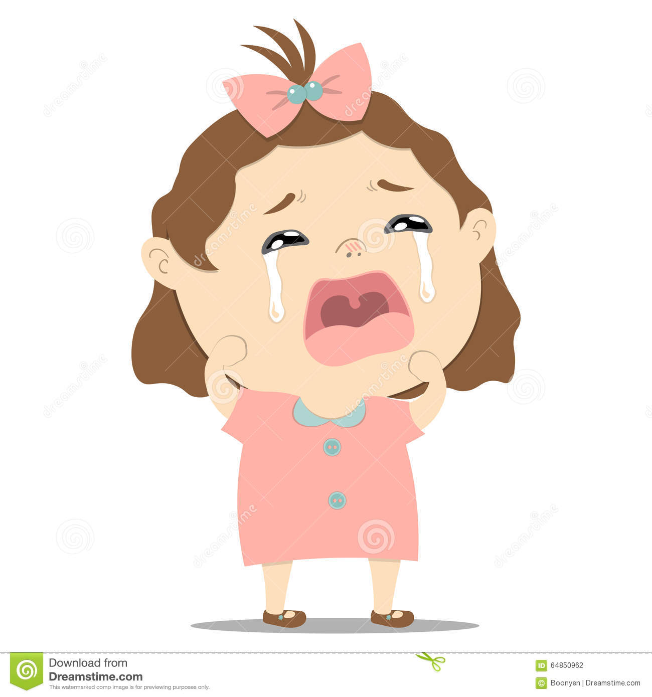 Sad Little Cute Baby Girl Crying Stock Vector - Image ...