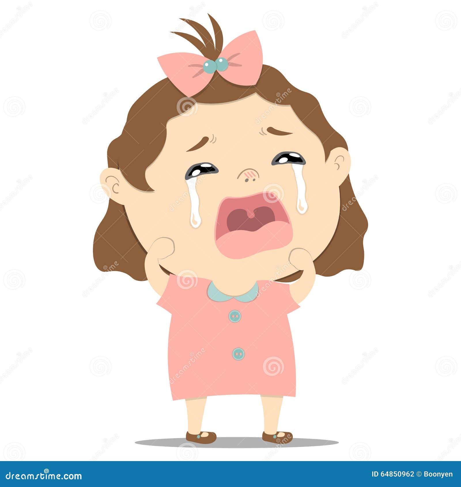 Sad Little Cute Baby Girl Crying Stock Vector Image