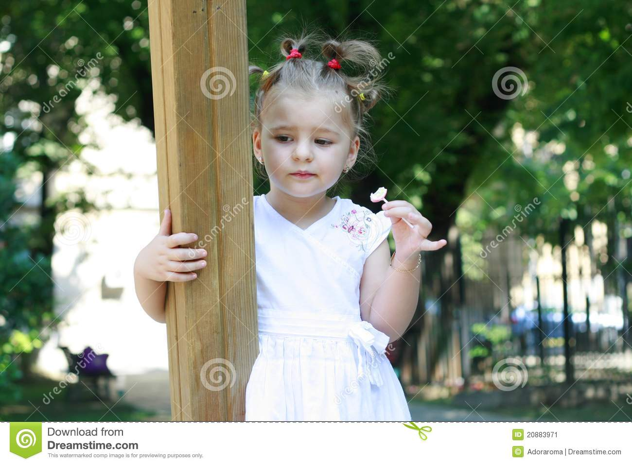 Sad Little Girl Alone In Park Stock Image Image Of Cute Healthy
