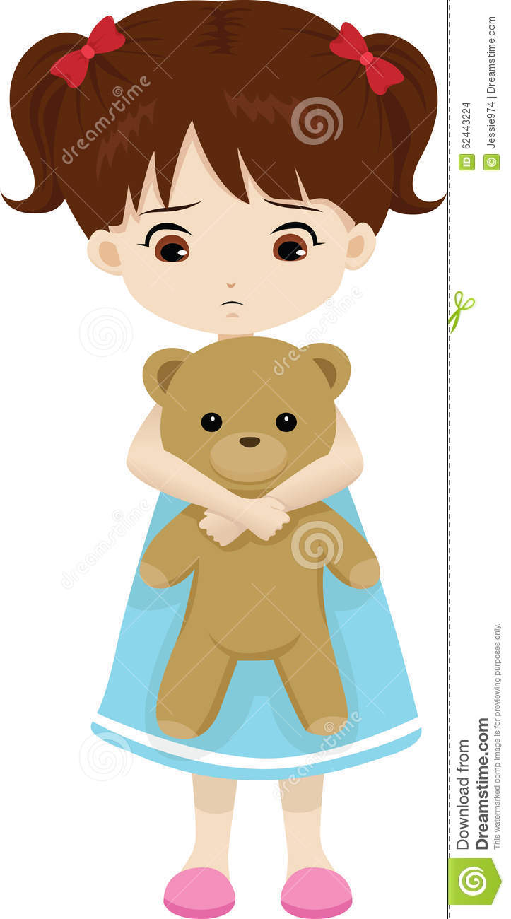 Sad little girl stock vector. Illustration of hold, teddy ...