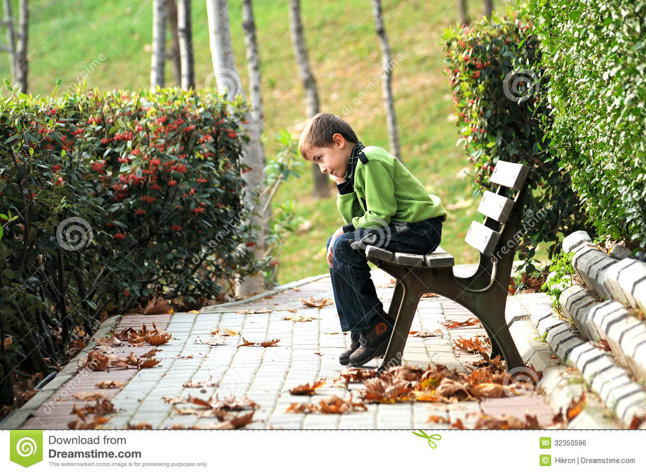 Sad Lonely Child In The Park Royalty Free Stock Image - Image ...