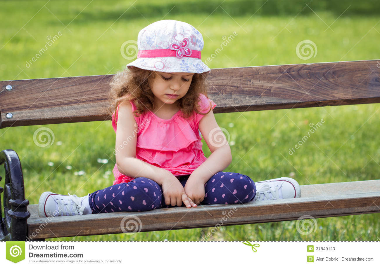 Sad Lonely Little Girl Sitting On Bench Stock Image Image Of