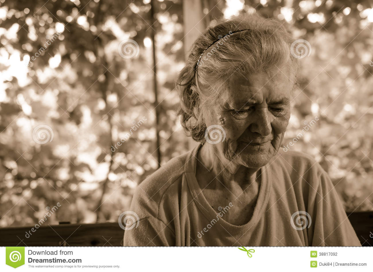 Sad Grandmother sad lonely pensive old senior woman stock photo ...