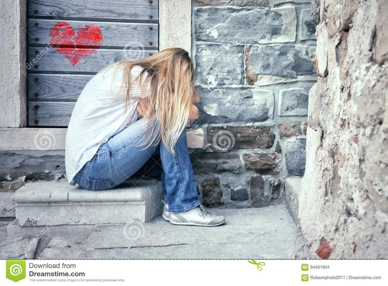 Sad Lonely Woman With Broken Heart Stock Photo - Image of ...
