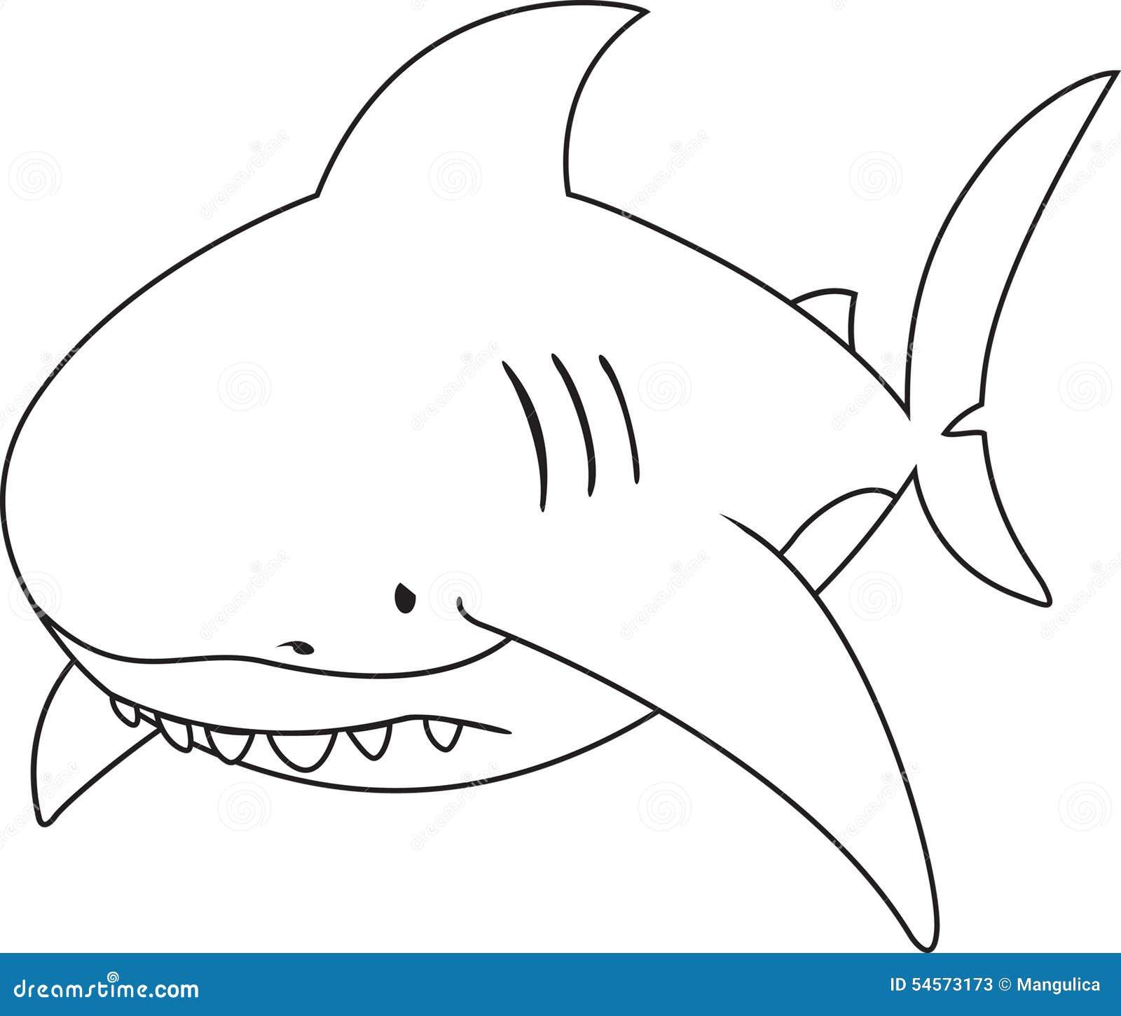 Sad Looking Great White Shark Stock Vector - Illustration of artwork ...