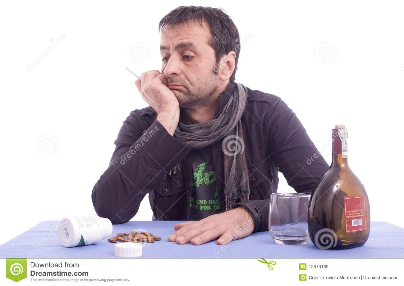 Sad Looking Man Sitting At The Table Stock Image Image Of Home Looking 12879189