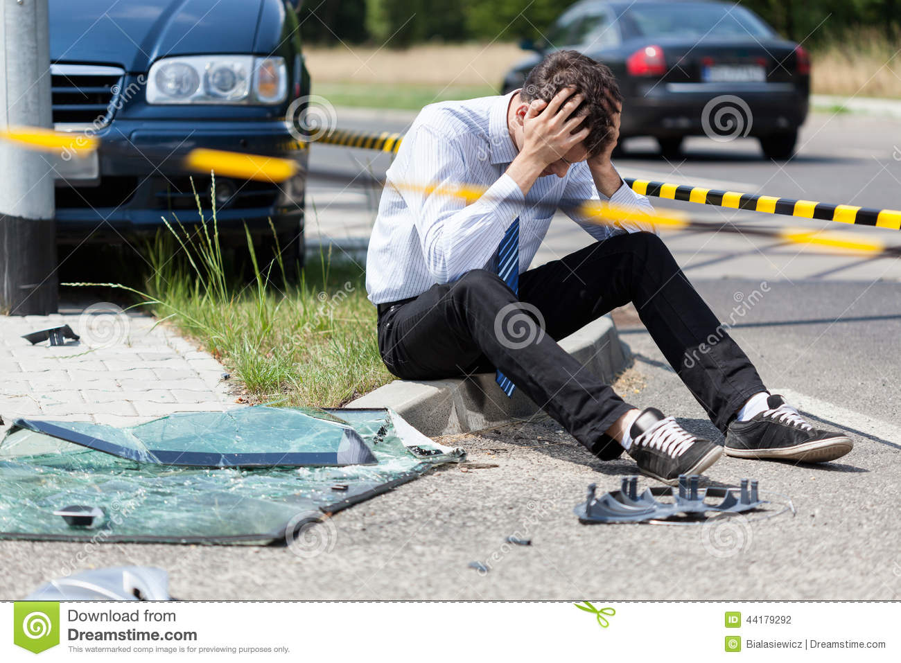 Man Calling An Ambulance For Injured Woman Stock Photo - Image of ...
