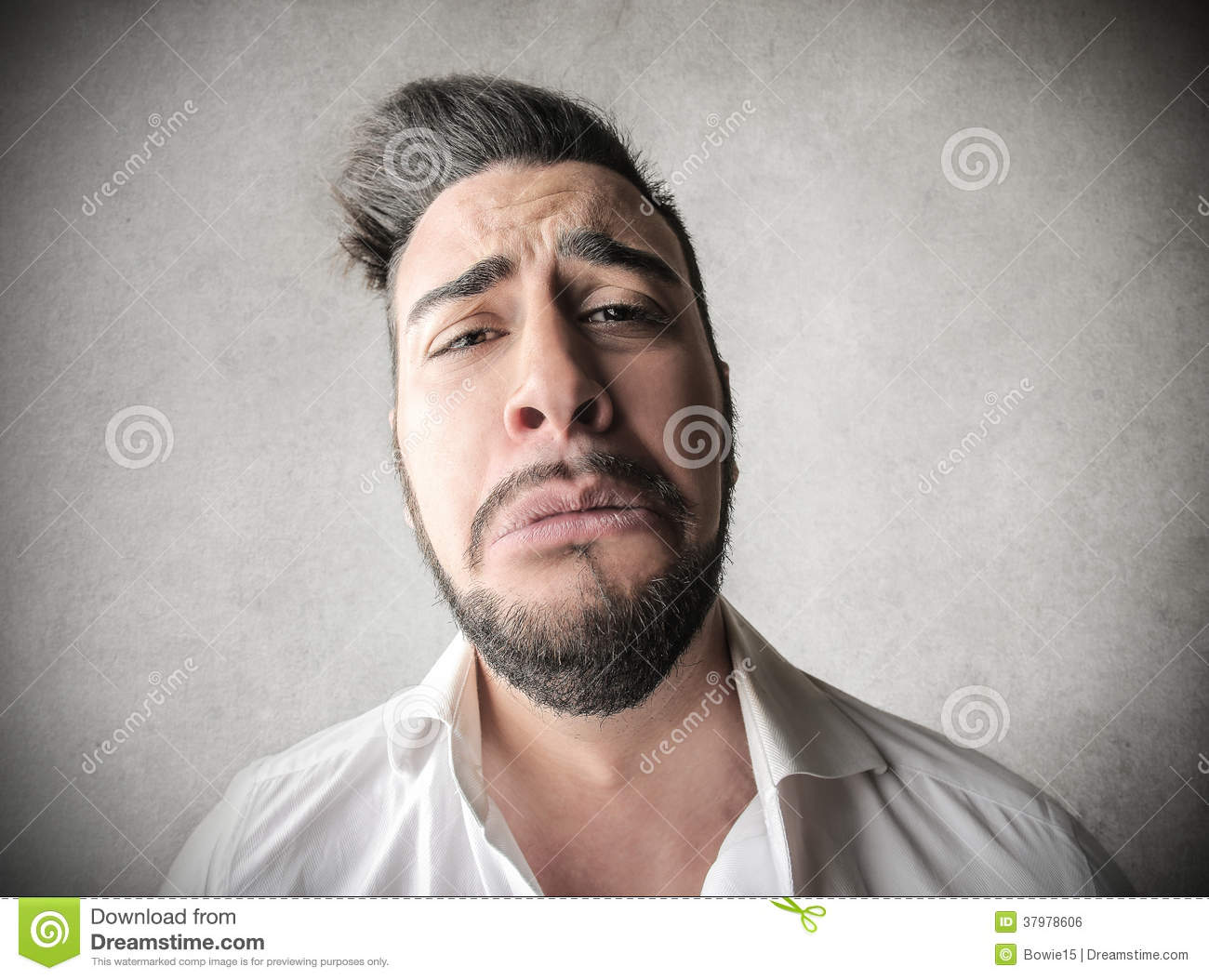sad man with a huge face stock photo image of ironic 37978606