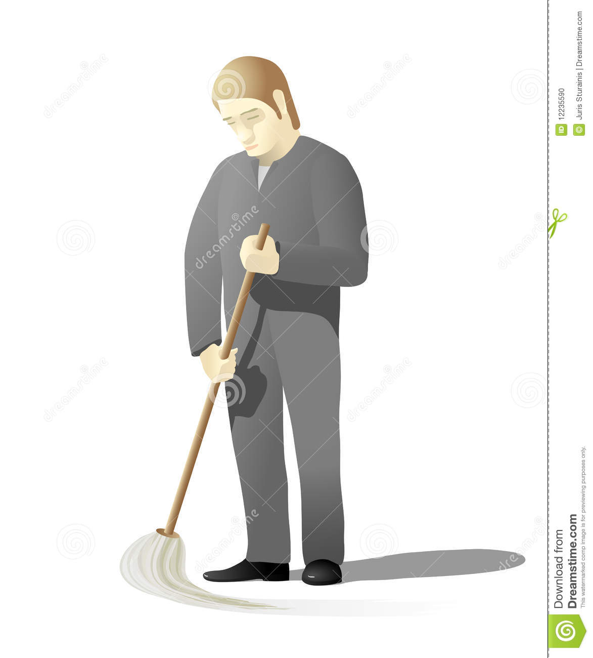 Sad Man Mopping Floor Stock Photo Image 12235590