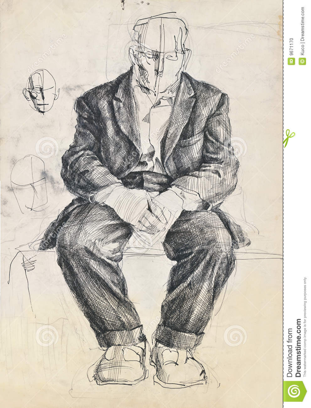 Hand drawing picture pen and ink sitting sad and age man