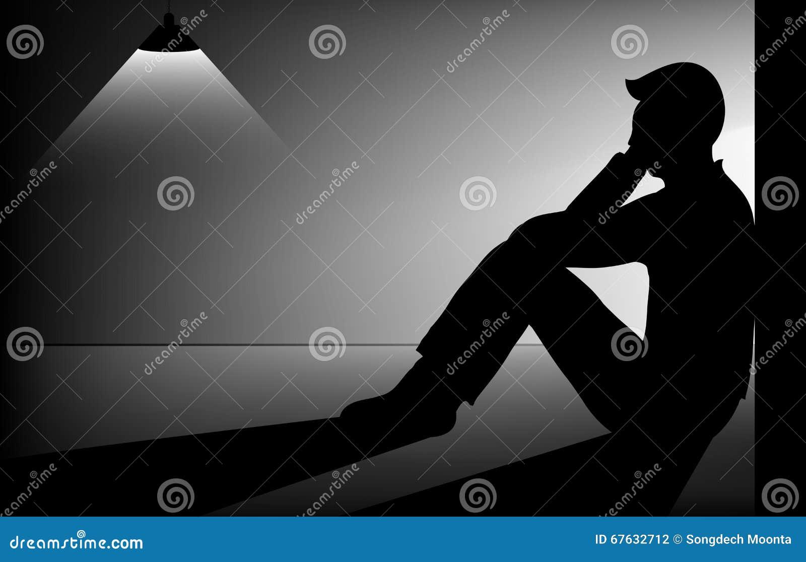 Sad man stock vector. Illustration of hopeless, sorrow ...