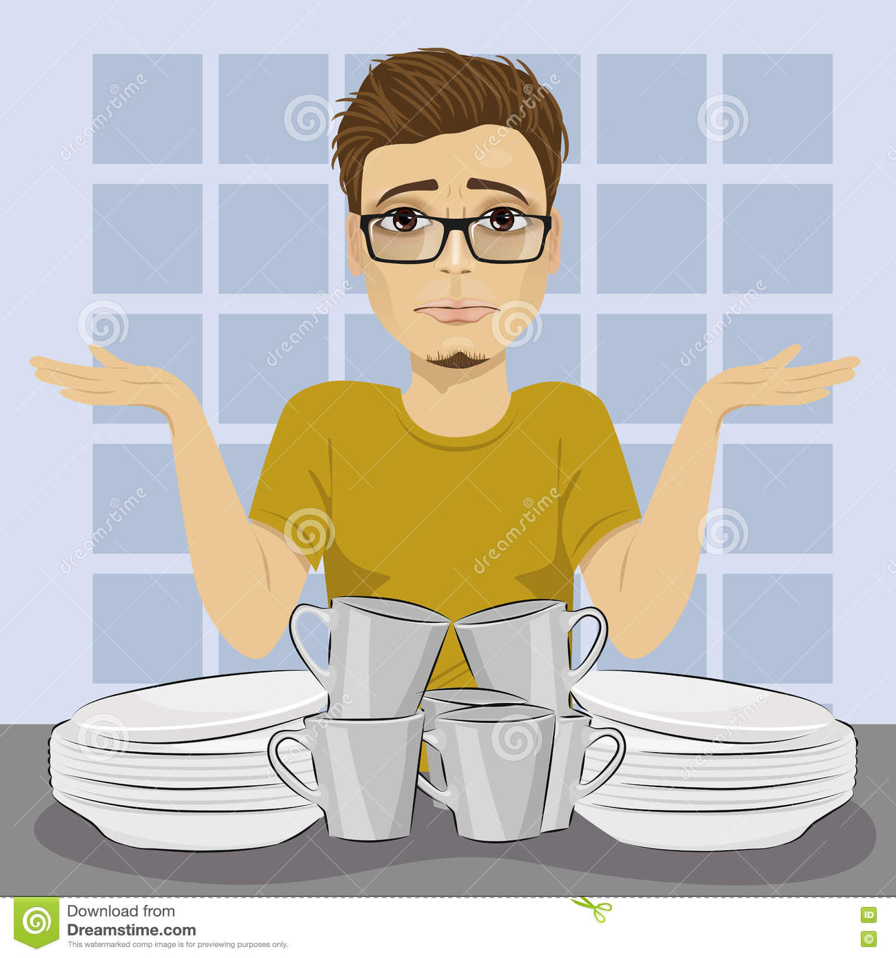Sad man throws up his hands because of dirty dishes pile needing washing up