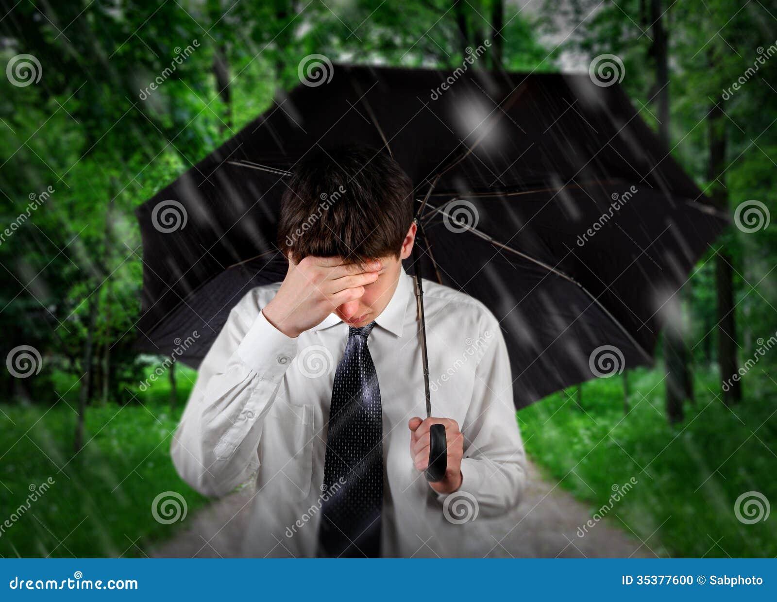 Sad Man Under Rain Stock Photo - Image: 35377600