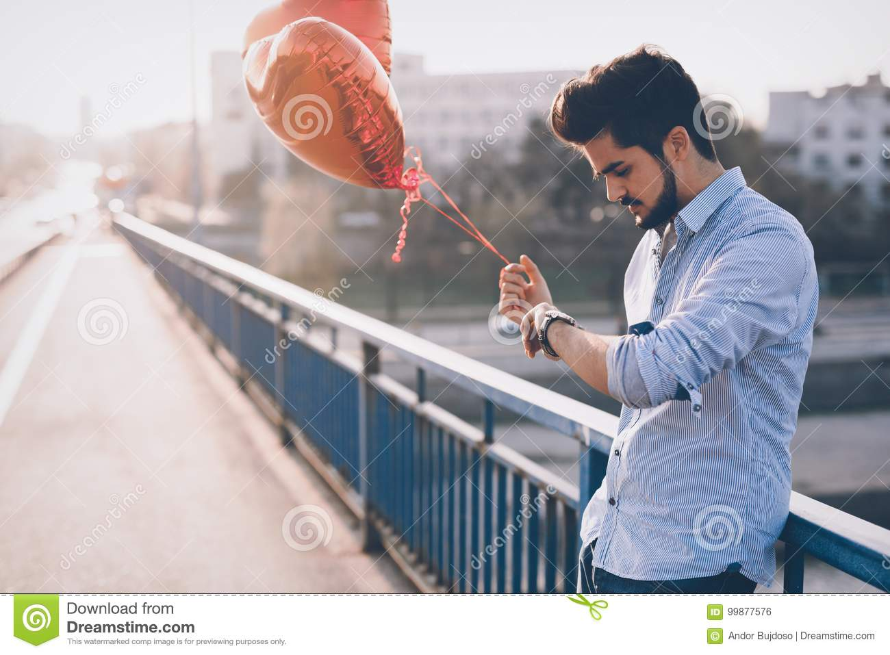 Sad Man Waiting For Date On Valentine Date Stock Photo - Image of