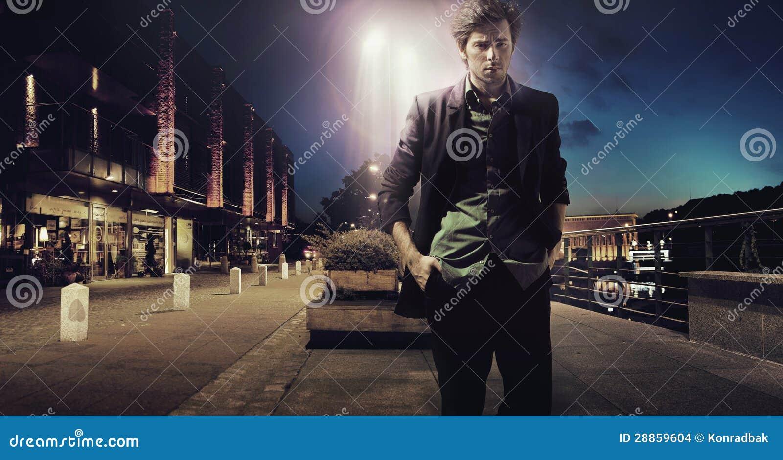 Sad Man Walking Alone At The Night Stock Images - Image ...