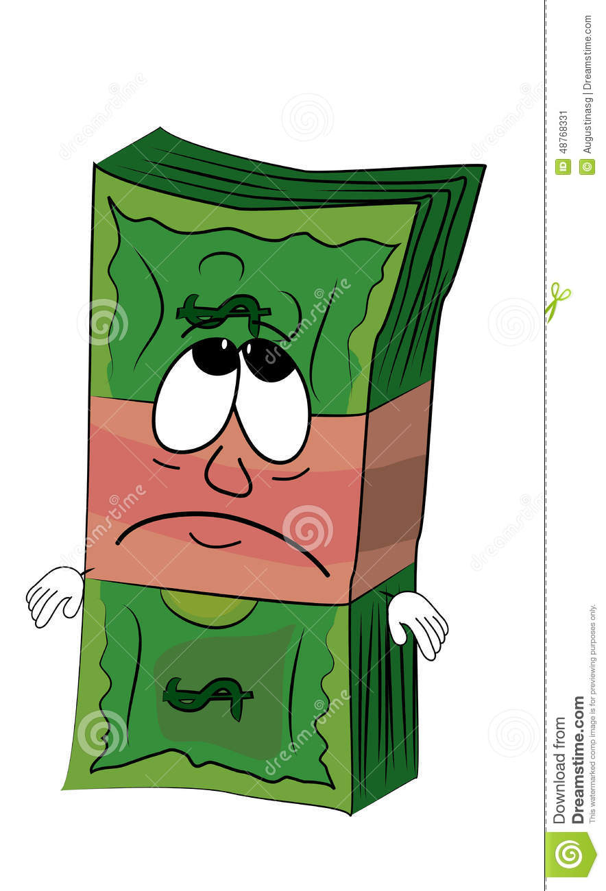 Sad Money Cartoon Stock Illustration - Image: 48768331