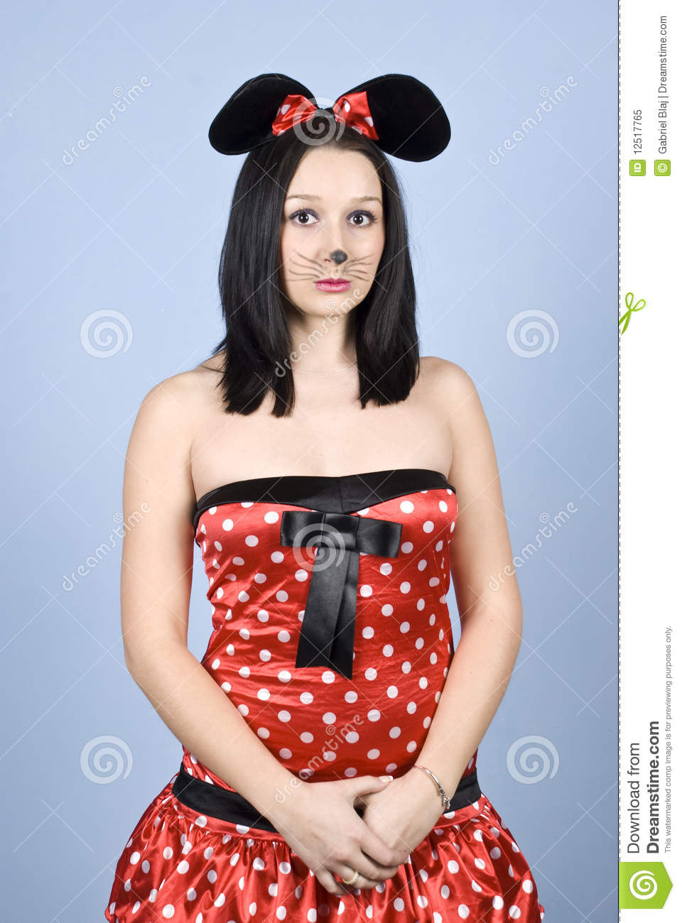 Sad Mouse Girl Stock Image. Image Of Makeup Looking - 12517765