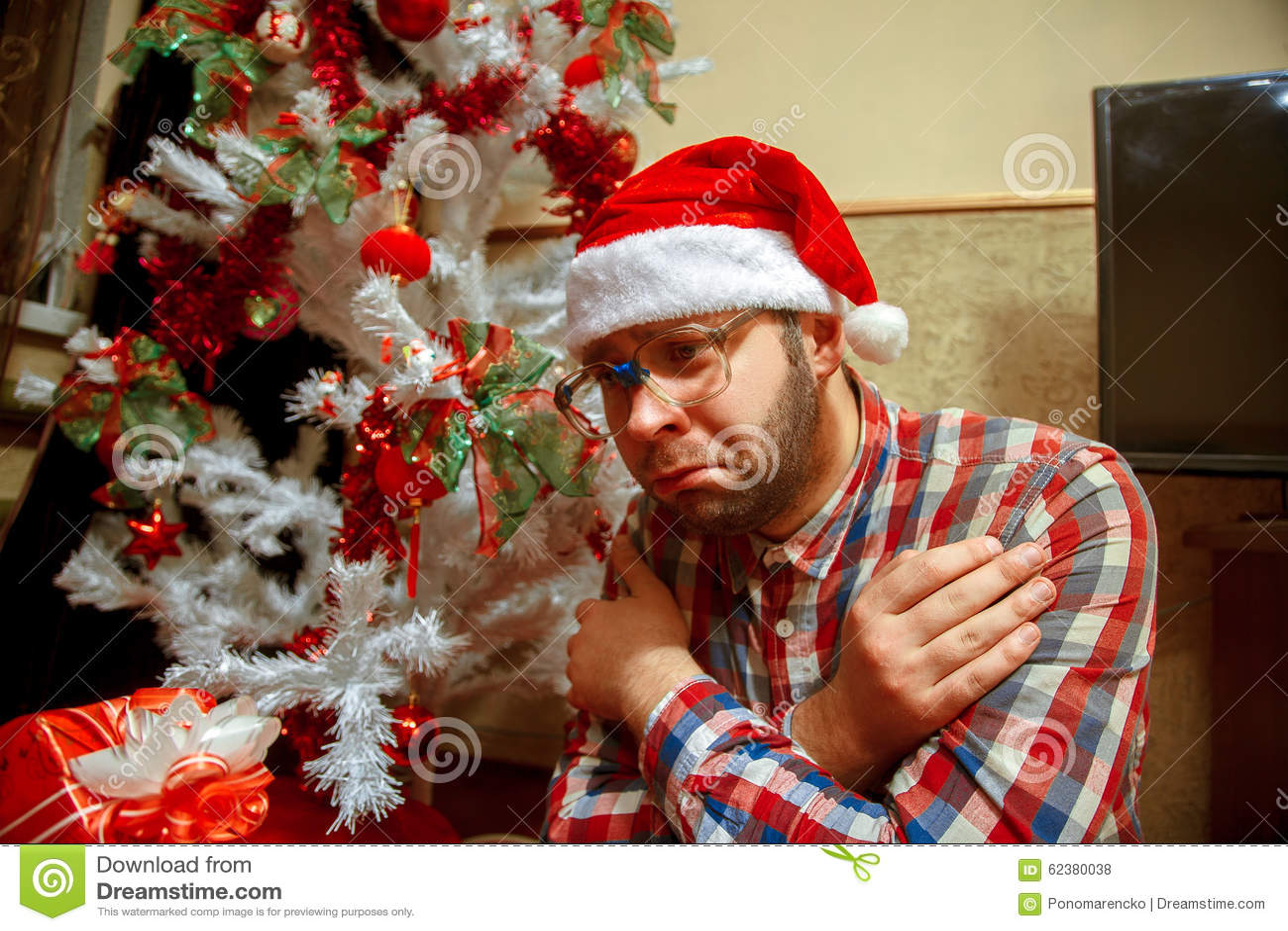 Alone On Christmas.Sad Nerd Celebrates Christmas Alone Stock Photo Image Of