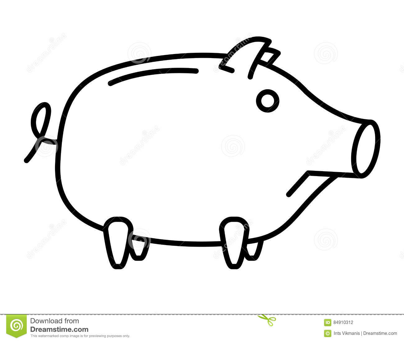 Line Drawing Piggy Bank : Sad piggy bank or money box stock vector image