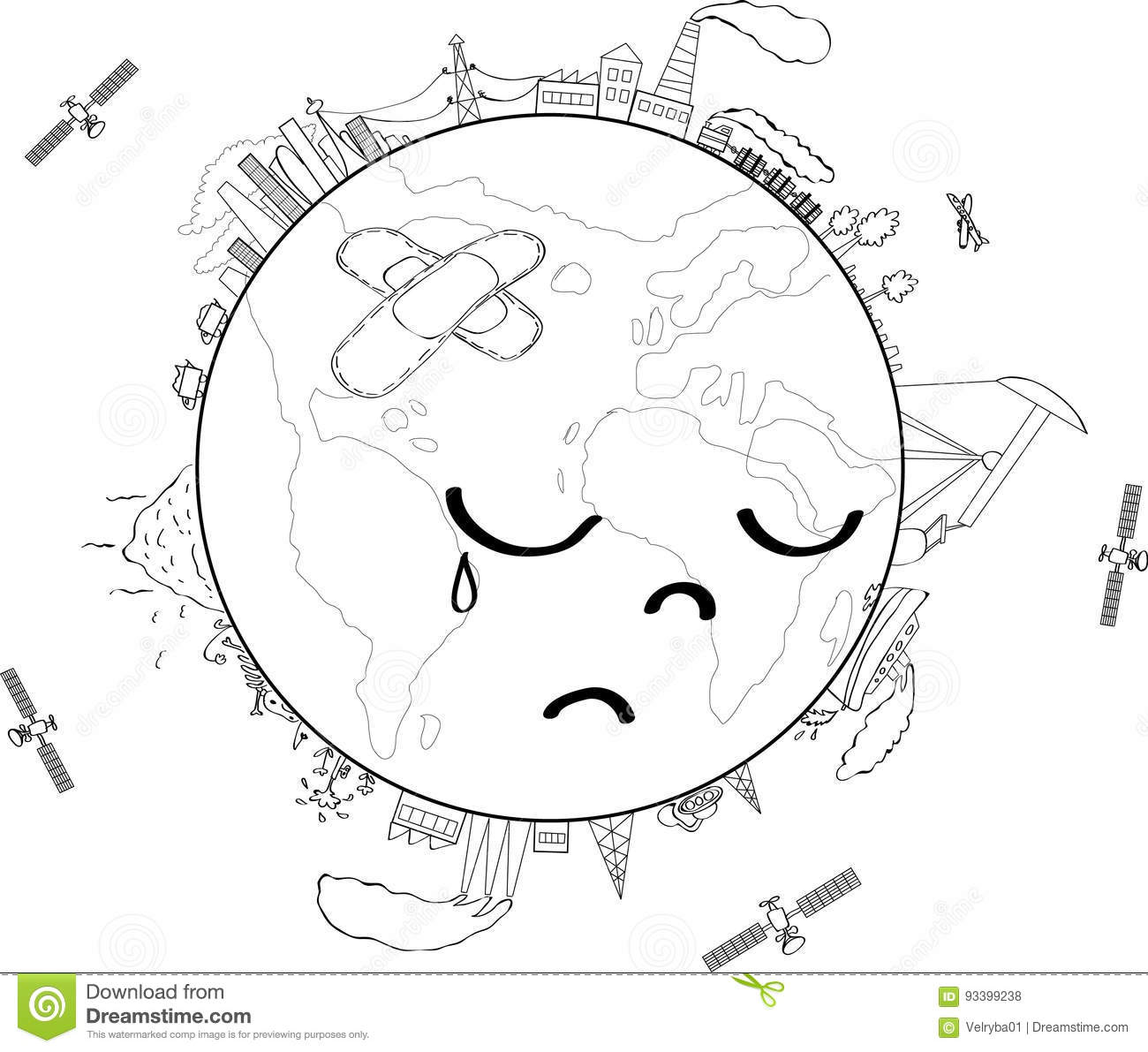 earth with thermometer cartoon