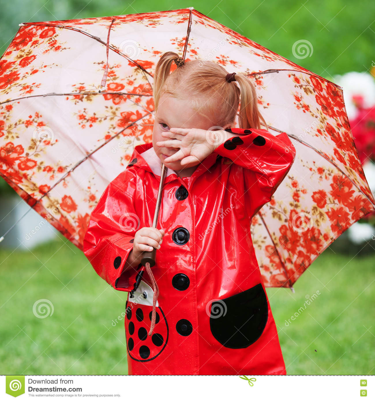 Sad Pretty Little Girl In Red Raincoat With Umbrella ...