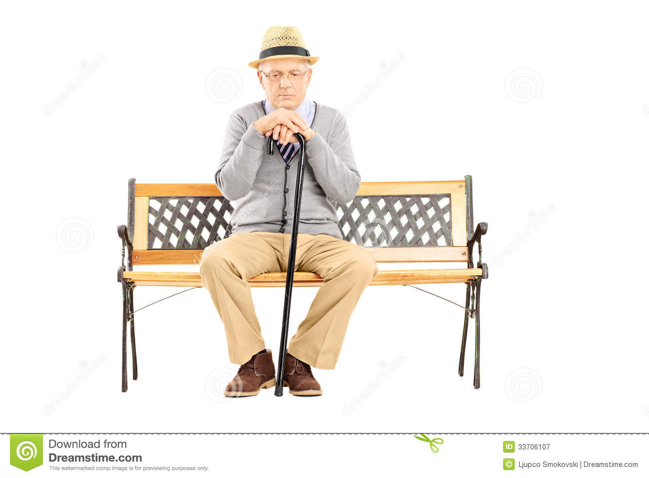 ... man with a cane sitting on a wooden bench isolated on white background