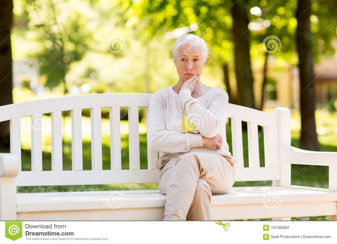 Image of: Beautiful Old Old Age Retirement And People Concept Sad Senior Woman Sitting On Bench At Summer Park Dreamstime Sad Senior Woman Sitting On Bench At Summer Park Stock Image Image