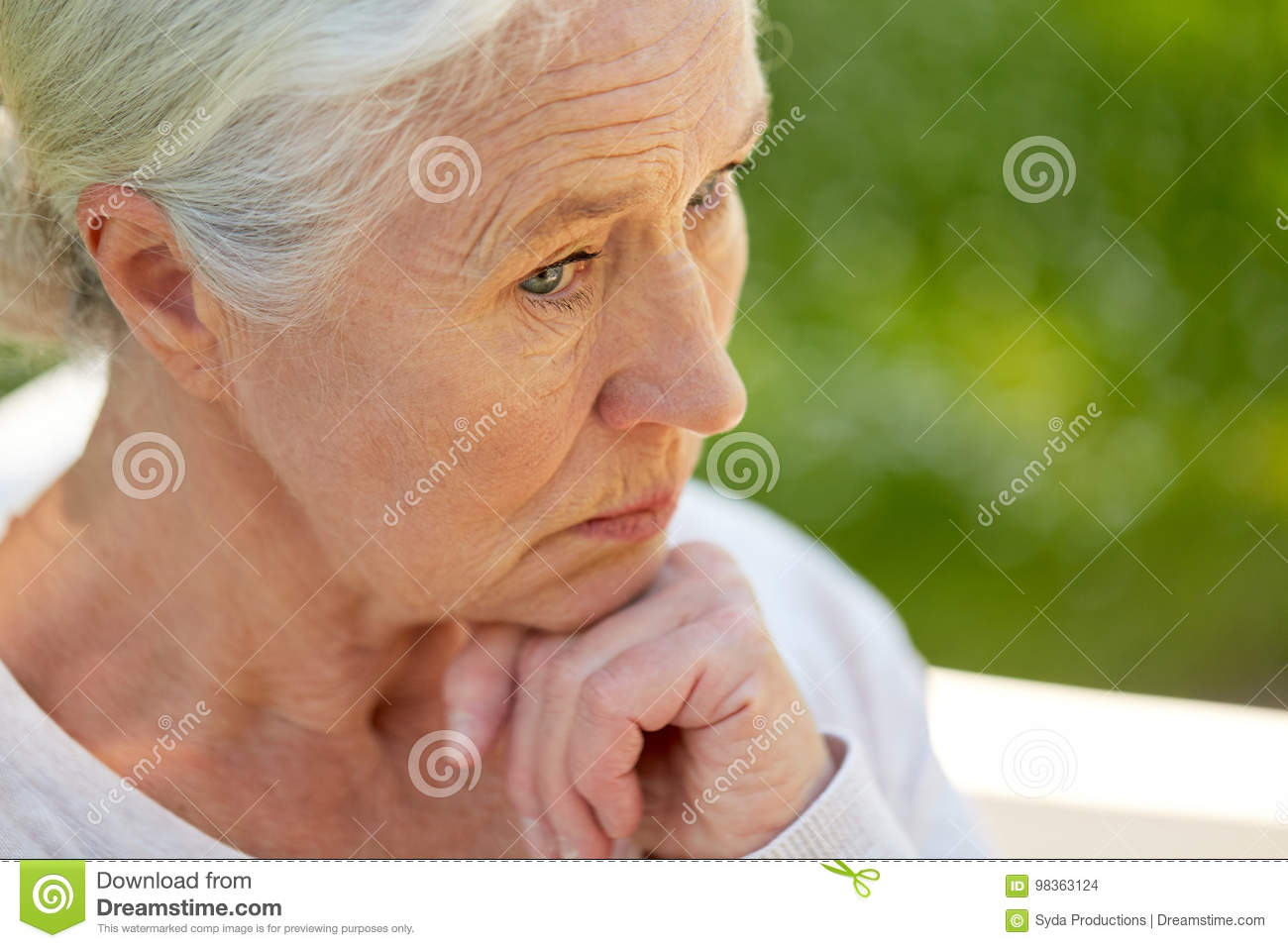 Image of: Photos Old Age Retirement And People Concept Sad Senior Woman In Glasses Sitting On Bench At Summer Park Dreamstimecom Sad Senior Woman Sitting On Bench At Summer Park Stock Photo Image