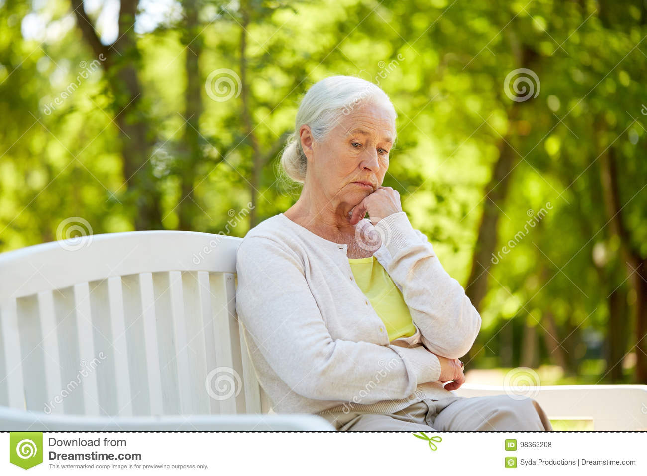 Image of: Room Old Age Retirement And People Concept Sad Senior Woman In Glasses Sitting On Bench At Summer Park Dreamstimecom Sad Senior Woman Sitting On Bench At Summer Park Stock Photo Image