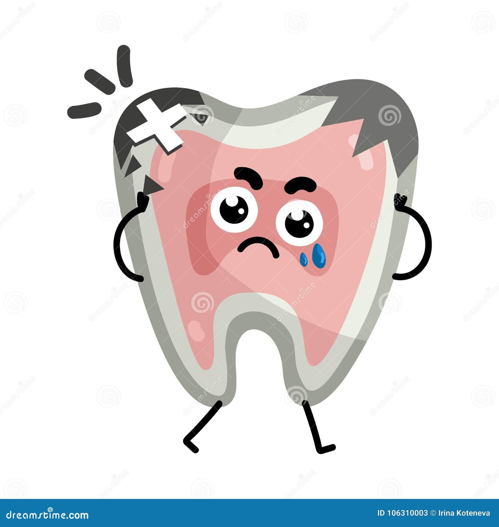 Sad Sick Tooth Cartoon Character Stock Vector Illustration Of
