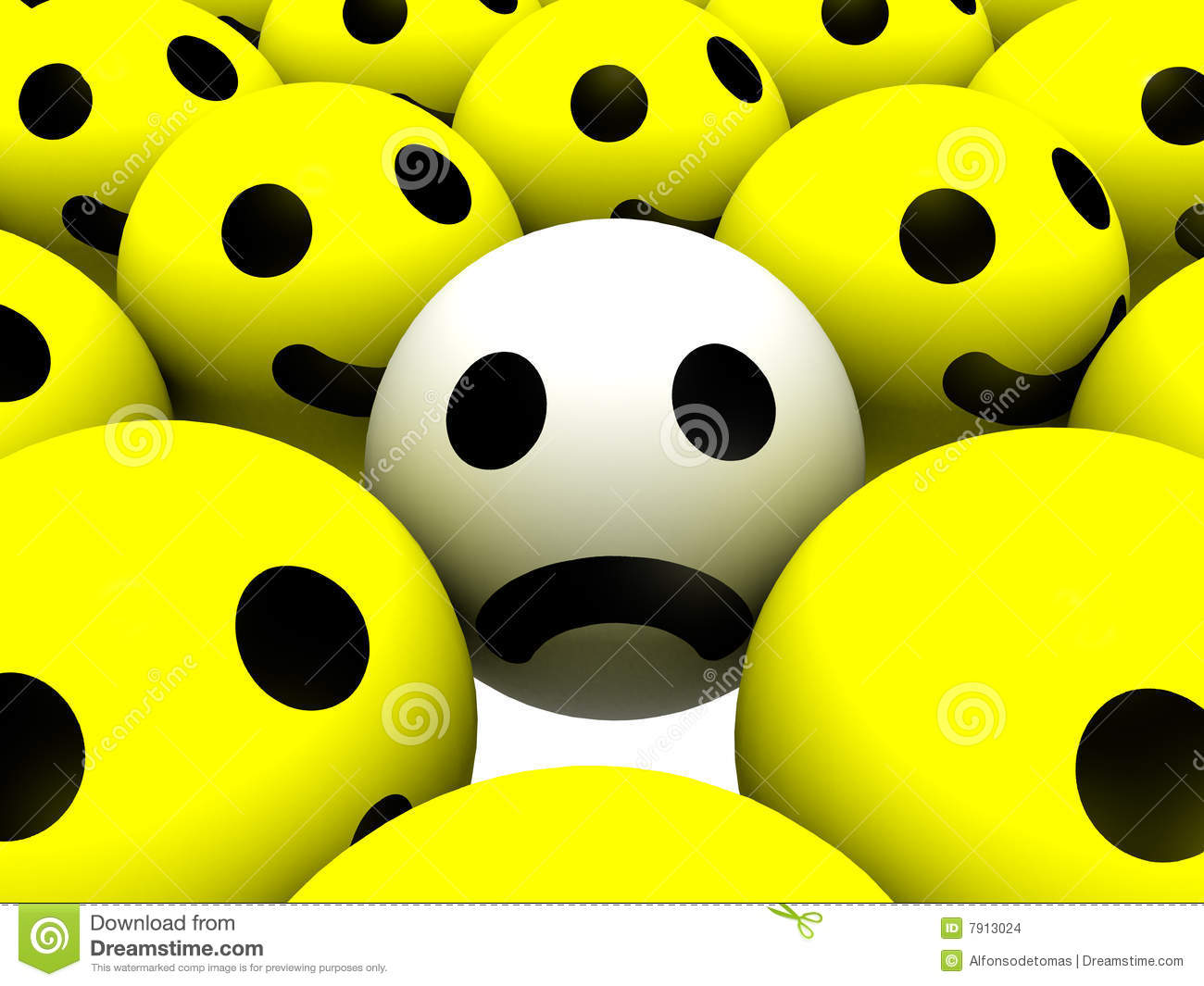 Smiley with sad face surrounded by ones with happy faces