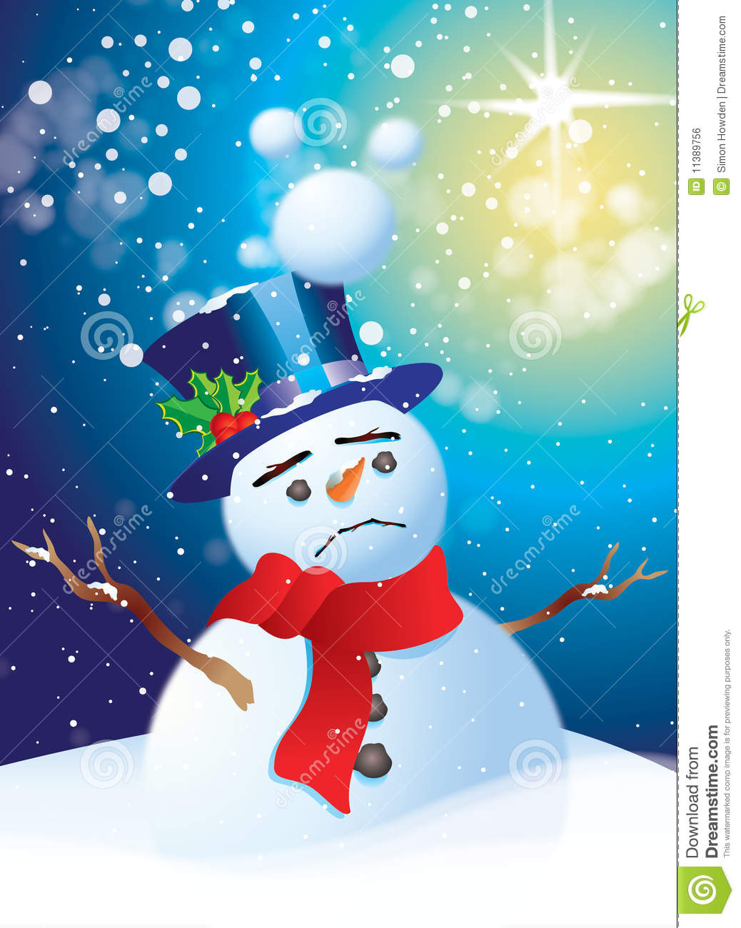 sad snowman royalty free stock image