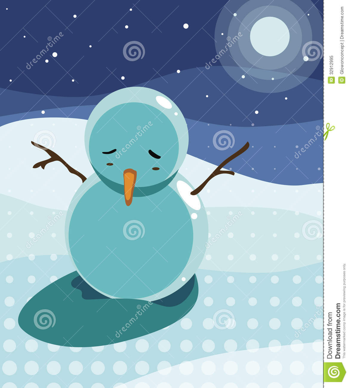 sad snowman under the moon light stock illustration