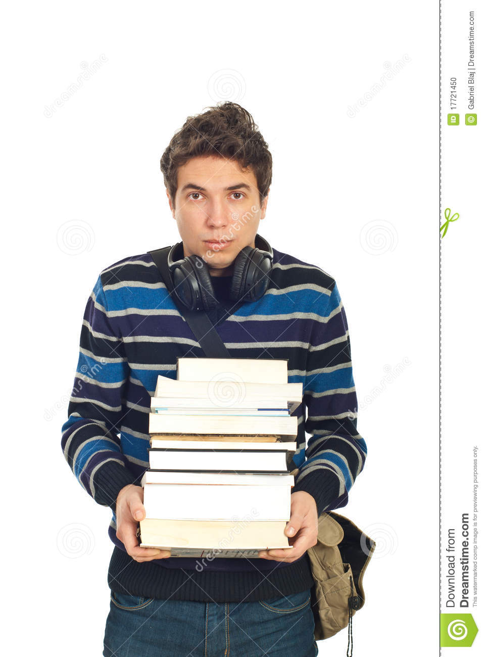 Sad student male with headphones carrying stack of book isolated on ... Happy High School Student Clipart