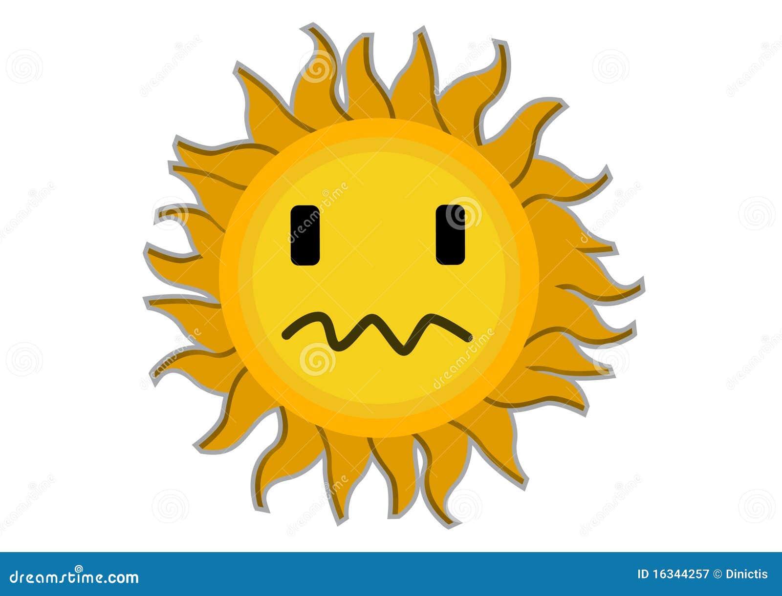 Sad Sun Cartoon Charac...