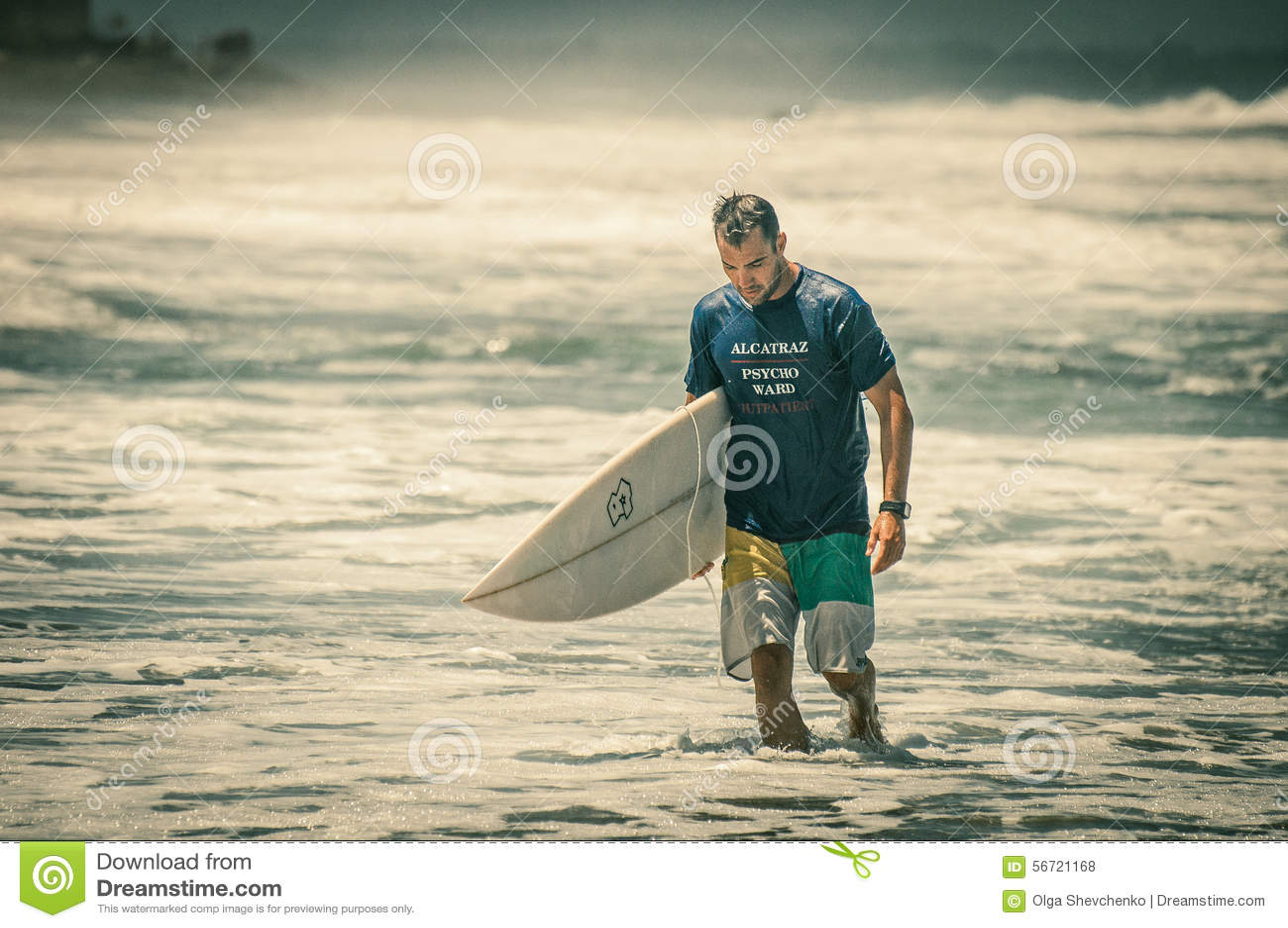 Sad Surfer Walks In Water Editorial Stock Photo - Image: 56721168