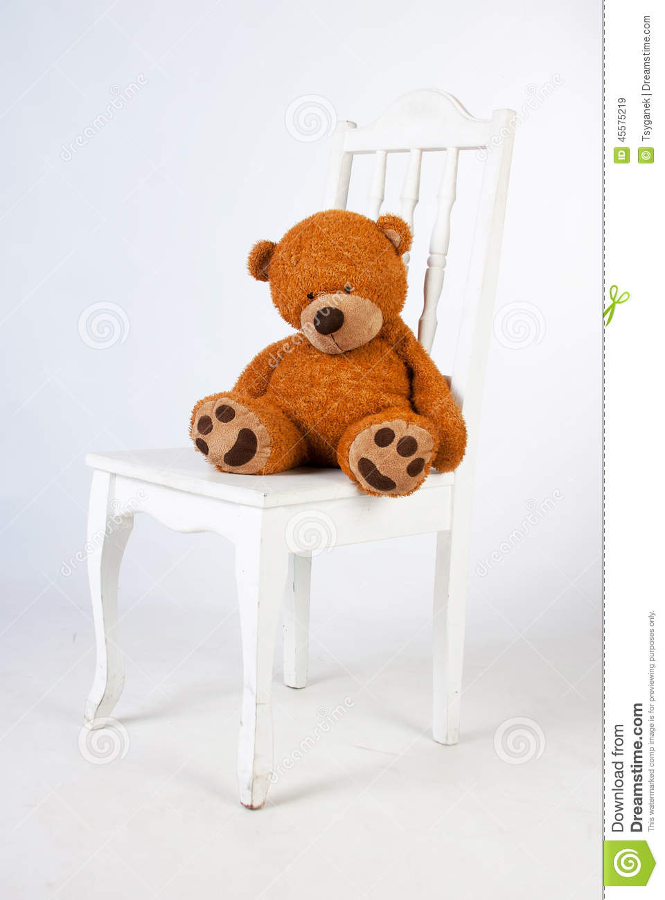 sad teddy bear sits on a chair stock image image 45575219. Black Bedroom Furniture Sets. Home Design Ideas