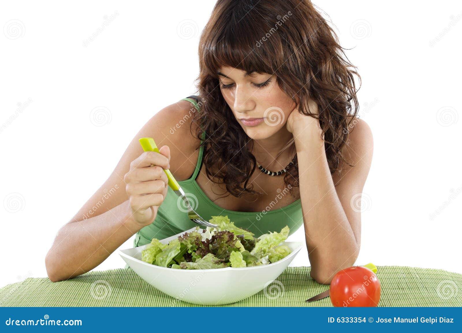 A Sad Teen Eating Salad Stock Images - Image: 6333354
