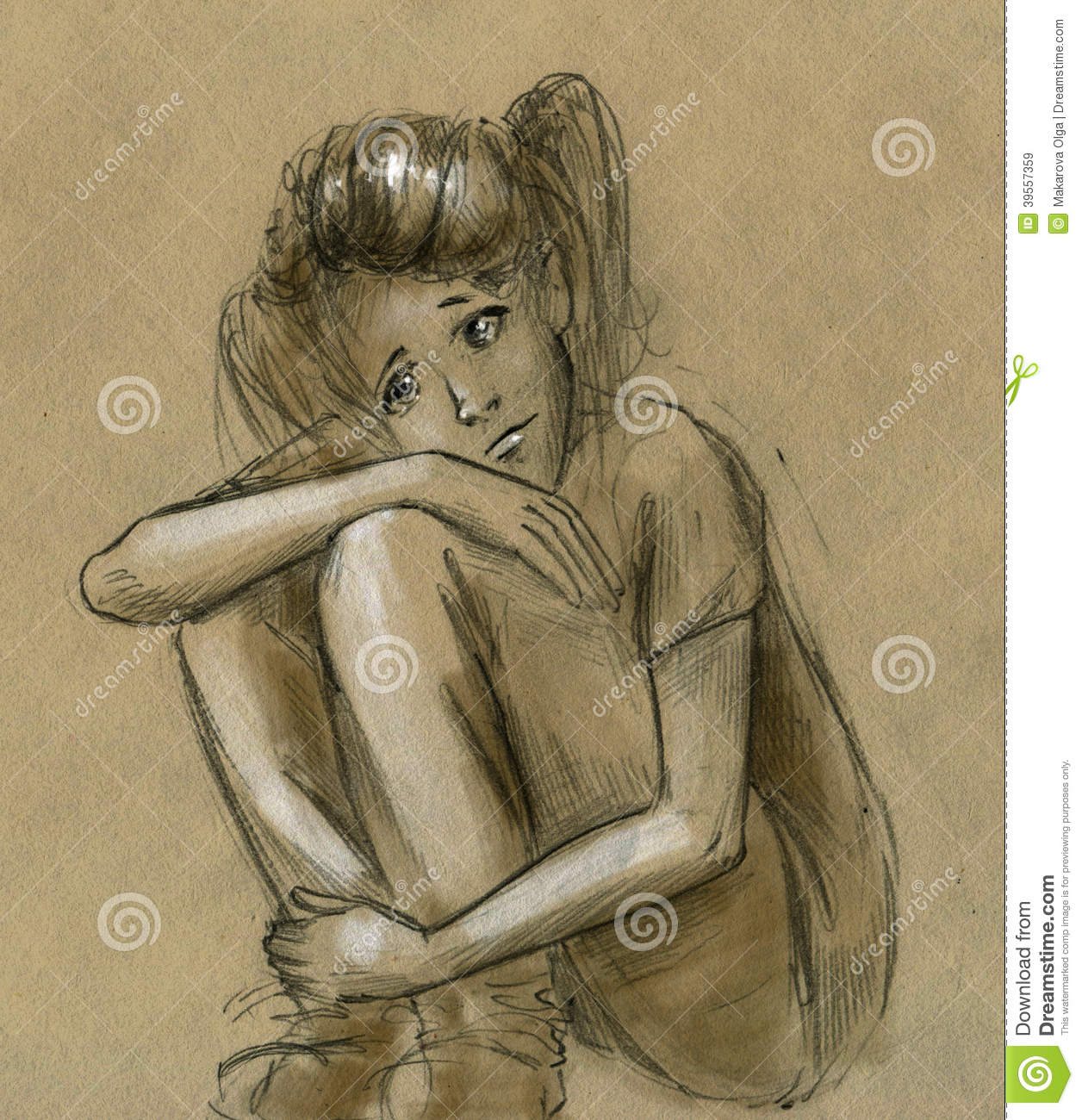 Sad teen girl thinking of something alone hand drawn rough pencil sketch