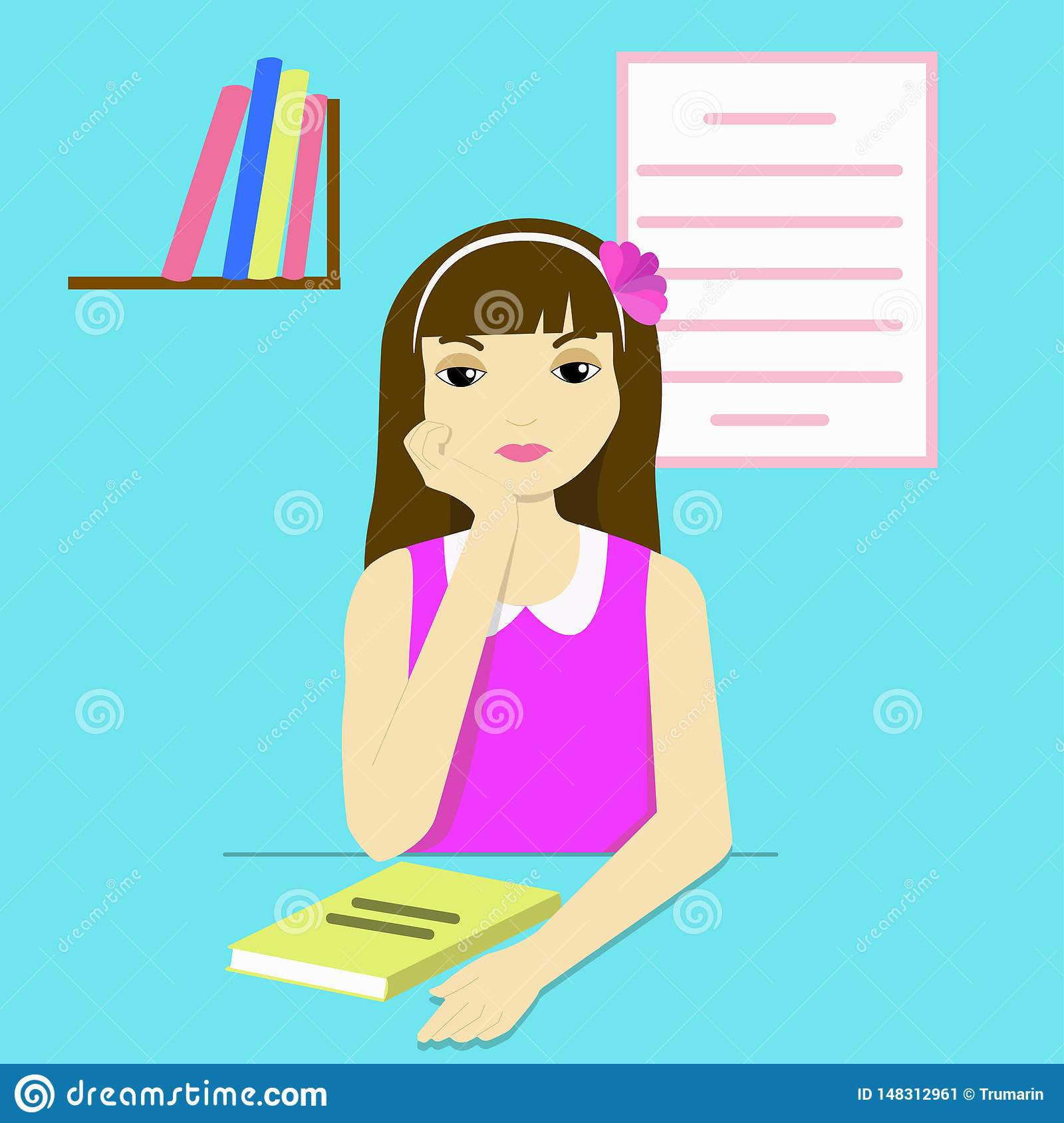 Thoughtful girl at her desk
